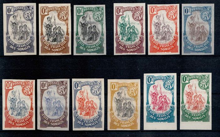 French Somaliland 1903 - 12 illegal prints