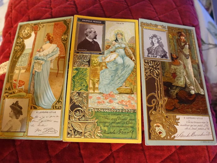 Lefevre Utile, printed autographed by Anatole France, Sarah Bernhard, Margelle Lander, batch of 3 postcards,