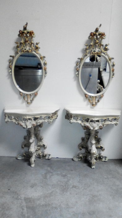 Pair of nightstands with mirror - Venetian Baroque style - 1960s - Italy