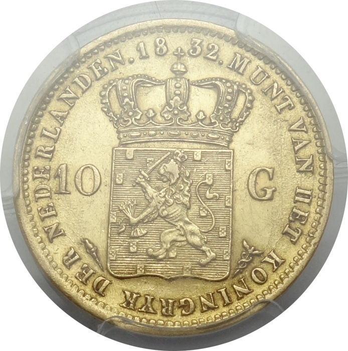 Nederland - 10 gulden 1832 Willem I in PCGS slab - goud