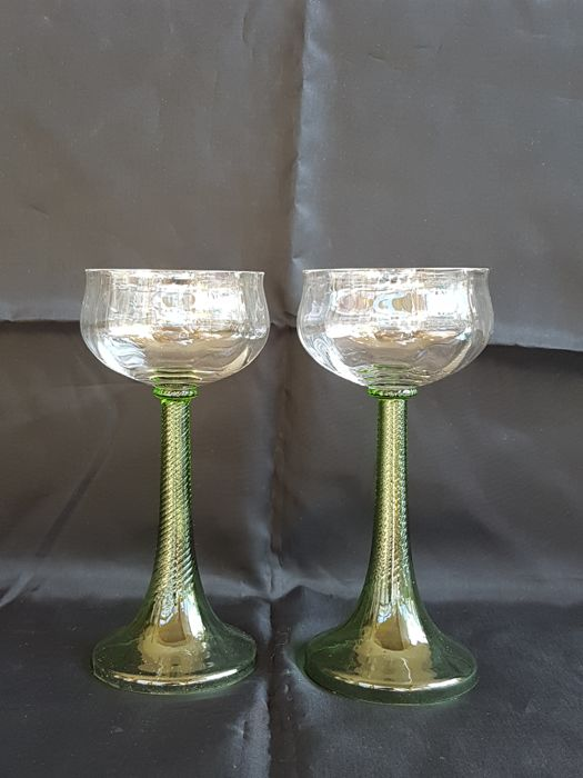 Rheinische Glashütten - Two Art Nouveau wine glasses