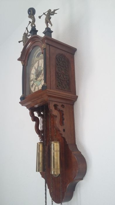 Office Notary Clock with Bridal Wreath - around 1880