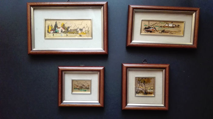 Collection of four small Italian paintings made out of gold leaf