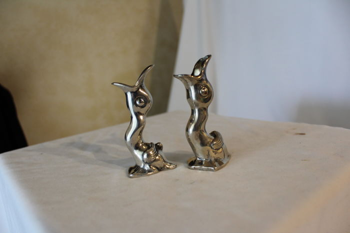 A pair of toothpick holders in silver 800/1000, hallmarked - Italy, second half of the 20th century
