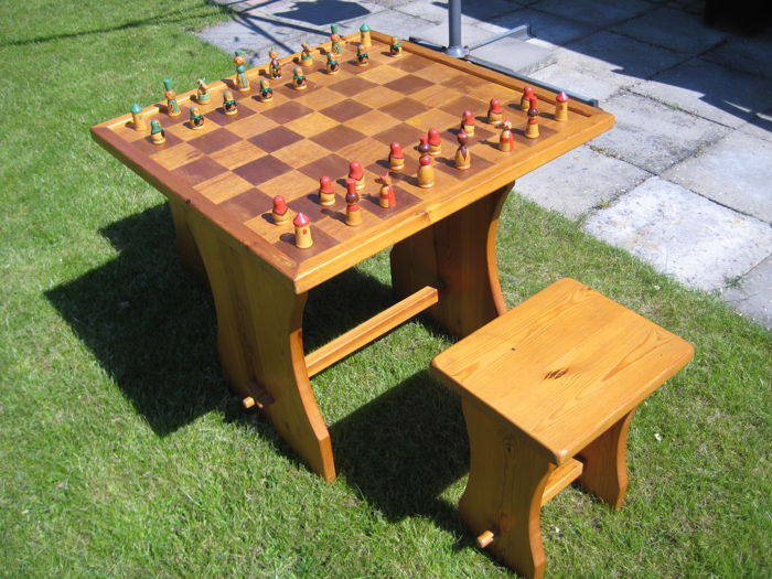 Handmade pinewood painted chess table with 2 stools with Babushka chess pieces