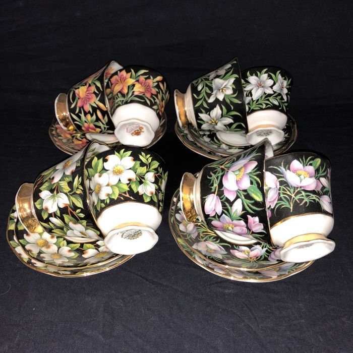 Royal Albert - 4 sets (women&men) cup & saucers from the series Provincial Flowers