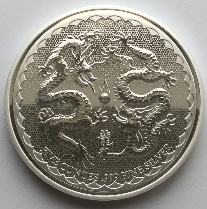 Niue - 10 Dollars 2018 - Double Dragon - 5 oz - Zilver