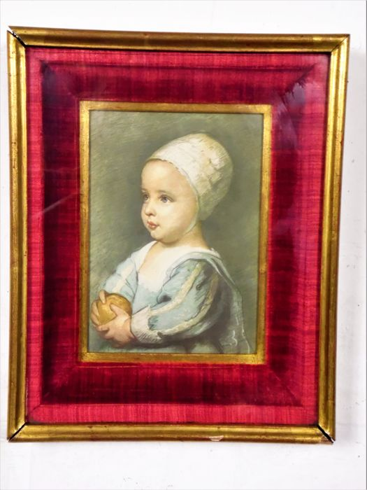 Portrait of Beatrice d'Este - Milano - print on canvas in gilt wooden frame with red velvet - Middle of 20th century - Italy