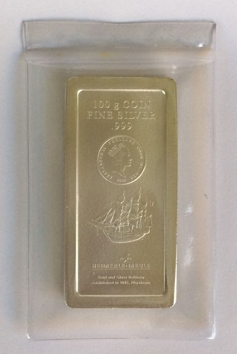 Cook Islands - 100 grams - 999/1000 - Minted - 5$ coin bar 2009