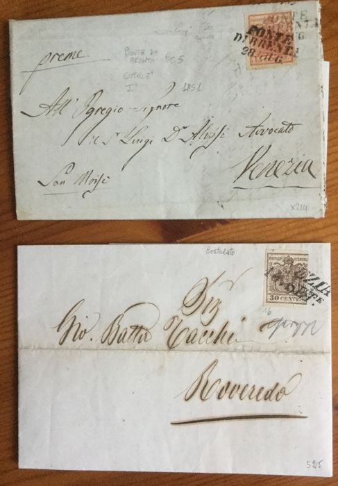 Lombardy Venetia, 15 and 30 cent. From the 1st issue on ribbed paper (Sass. 14 and 16).