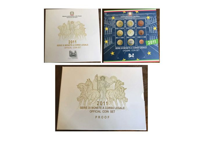 Italy - Lot of  3 Series - Divisionals - Euro - 2011 - Proof and FDC (See Description)