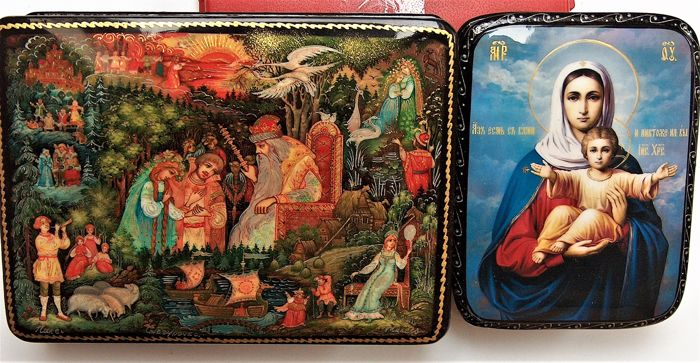 """Russian  2 lacquer boxes - """"Palekh Miniature"""" – """"Variations on Tales""""–and  """"Icon Mother of God with baby"""""""