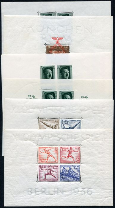 German Empire 1936/1937 -  Selection of 6 minisheets - Michel  Block 5, 6, 7, 8, 9, 10,