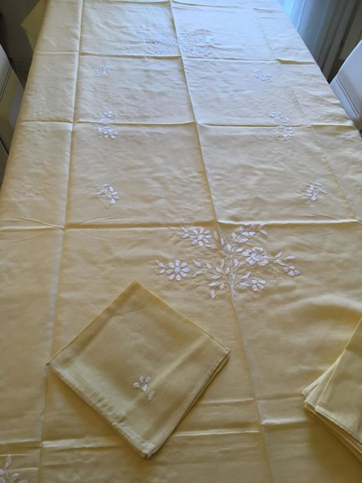 New rectangular tablecloth from a set in straw yellow colour - for 12 people - with handmade white embroidery and hemstitch -  with 12 napkins