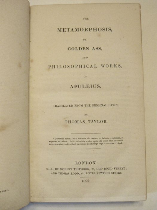 Apuleius & Thomas Taylor [trans.] - The Metamorphosis, or Golden Ass - 1822