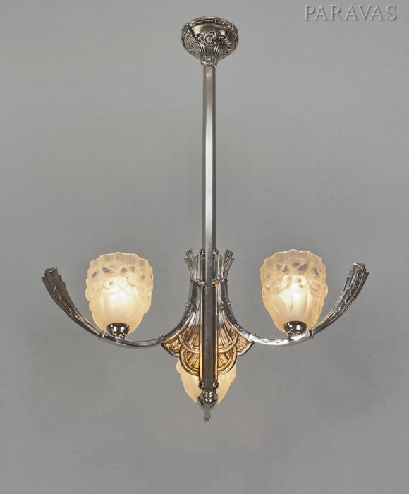 Degué - Art Deco chandelier -  nickeled bronze and moulded glass