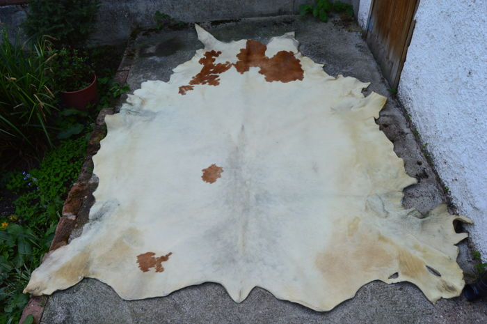 Large Clear Cowhide Leather Carpet ca 3 x 2 metre
