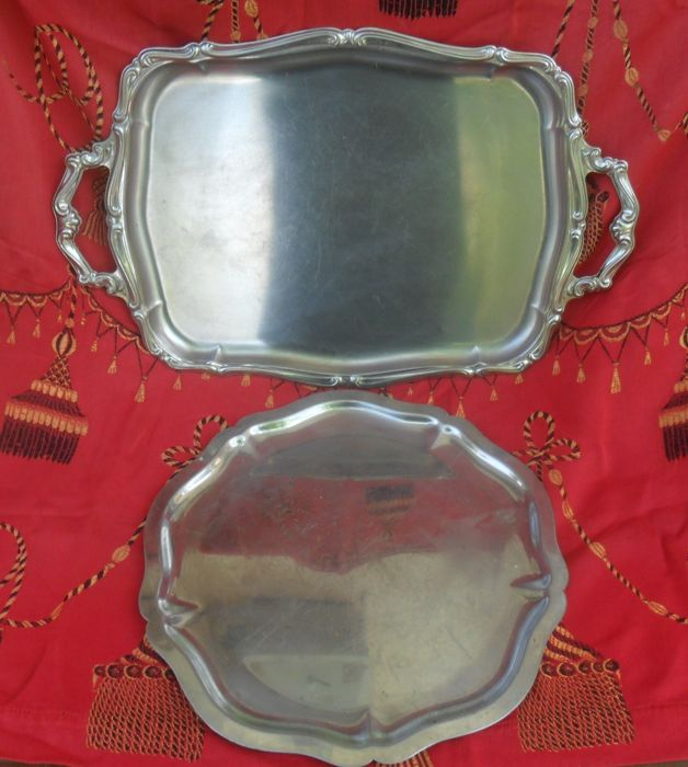 Round and square,Engraving, Antique silver plated,Sheffield ,serving dishe,italy,19th century