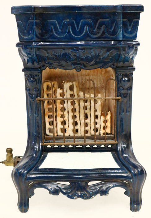 Blue enamelled Art Nouveau gas heater, ca. 1910, Netherlands