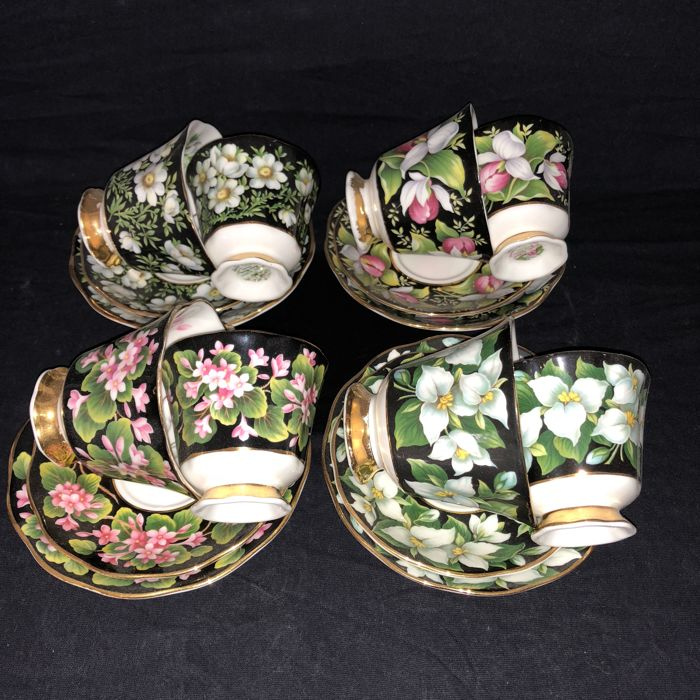 Royal Albert - 4 sets (women&men's) cup & saucers from the series Provincial Flowers