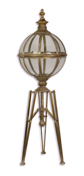 large garden lantern on a metal and glass tripod - glass and metal - recent