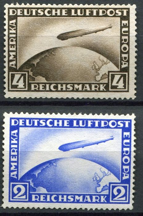 Germany (Reich) 1928  -  Airmail (Zeppelin) - Michel  423/24
