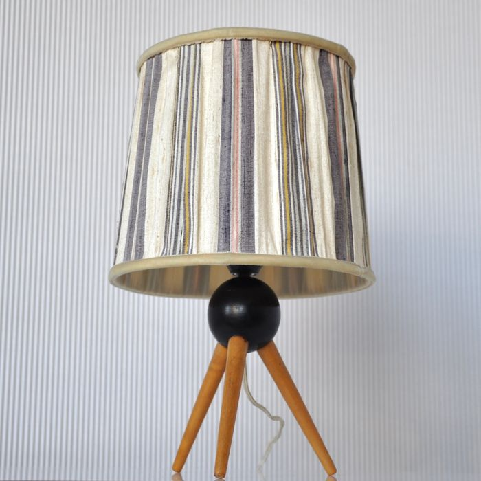 Manufacturer unknown vintage mid century modern tripod teak table manufacturer unknown vintage mid century modern tripod teak table lamp with original fabric lamp aloadofball Gallery