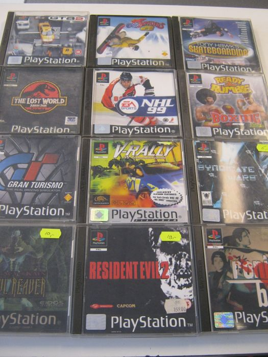 12 Sony Ps1 games. Some are very rare.games like:  Resident evil 2 + Soul Reaver + Sindy Cate wars + Gran Turismo + Ronin Blade and more.