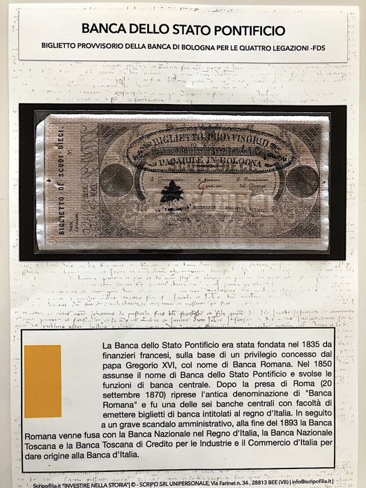 Papal note - rare note issued by the Banca di Bologna for the 4 legations of the Papal States Pope Pius IX - 10 Roman ecus - Rome 1855