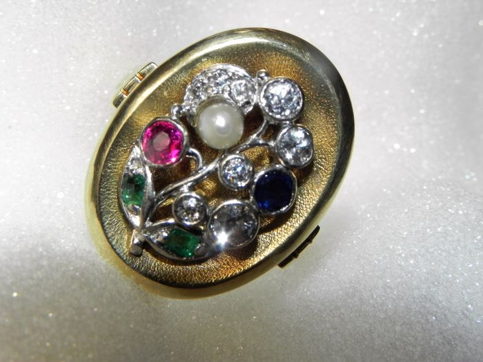 Antique ring with seed pearls, natural pearls, diamonds, rubies, sapphires, emeralds, ring in 14 kt gold