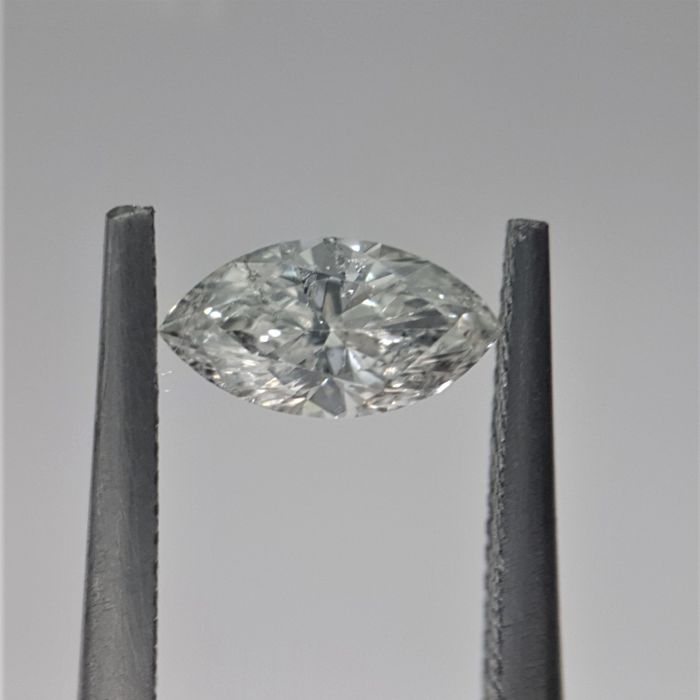0.39 carat - Natural White Marquise Brilliant Diamond - H Color -  I2 GIA - NO RESERVE