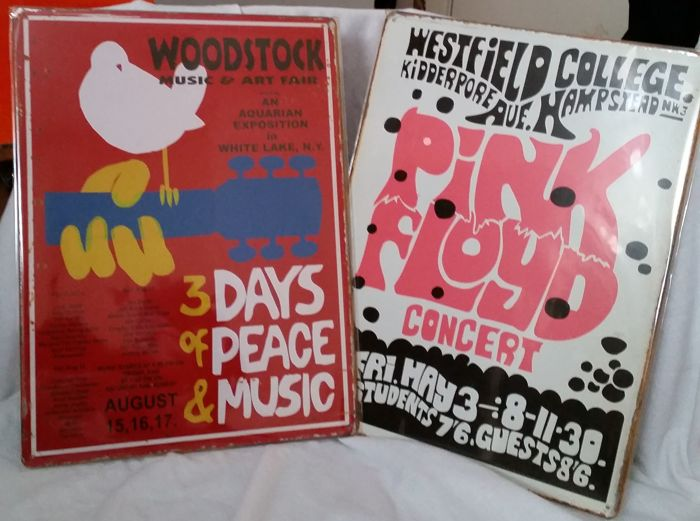 Fantastic, Woostock Festival and Pink Floyd Vintage Repro Large Metal Posters 30 cm x 40 cm.