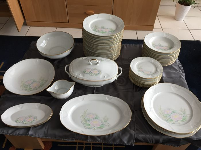 Limoges - 58-piece table service + 15-piece coffee service set - water lilies motif