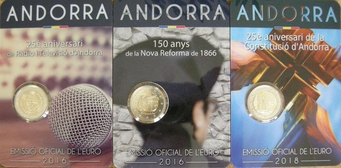 Andorra - 2 Euro 2016 'Reforms' + Euro 2016 'Radio and TV' + 2 Euro 2018 'Constitution' (3 pieces)