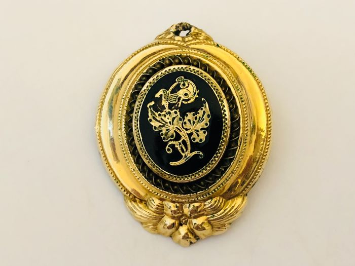 Antique gold - silver brooch - 18 kt pendant, Germany circa 1890