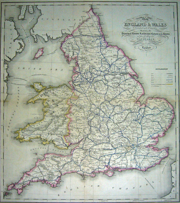 Map Of England Rivers And Canals.England Lewis Map Of England Wales Showing The Principal