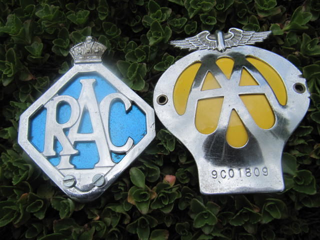 Two English road assistance badges from the 1960s
