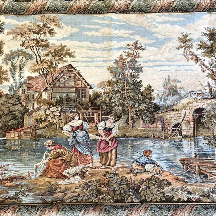 Large Gobelin Wall Tapestry with Romantic Scene - France, ca. 1960