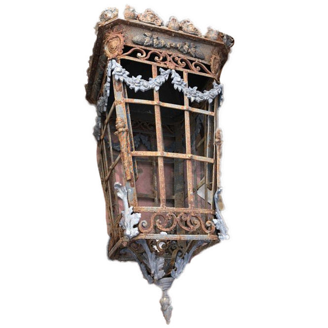 Large cast iron and wrought iron lantern, height 1.8 m - France - 20th century