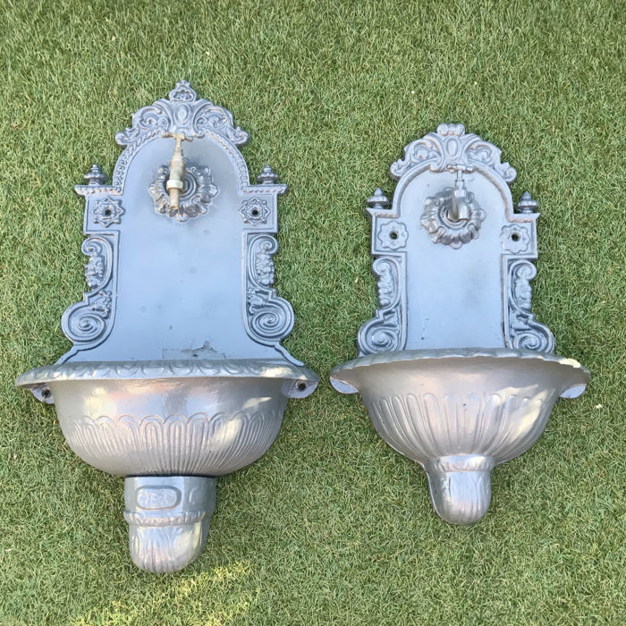 Two Decorative Wall Fountains   Grey