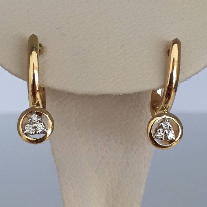 14 ct Red Gold Earrings With Diamonds *No reserve*