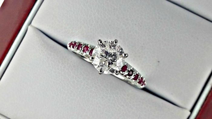 IGL 1.29 ct round diamond & ruby ring in white 14 k gold - size 6