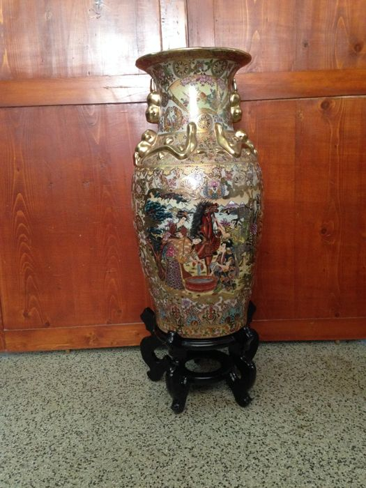 Large Oriental Vase With Wooden Stand China Second Half 20th