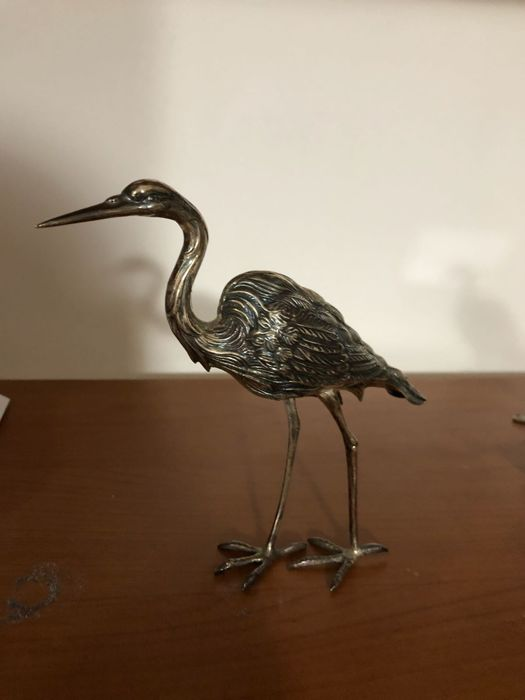 Beautiful Heron in silver 800 - Spain, 20th century