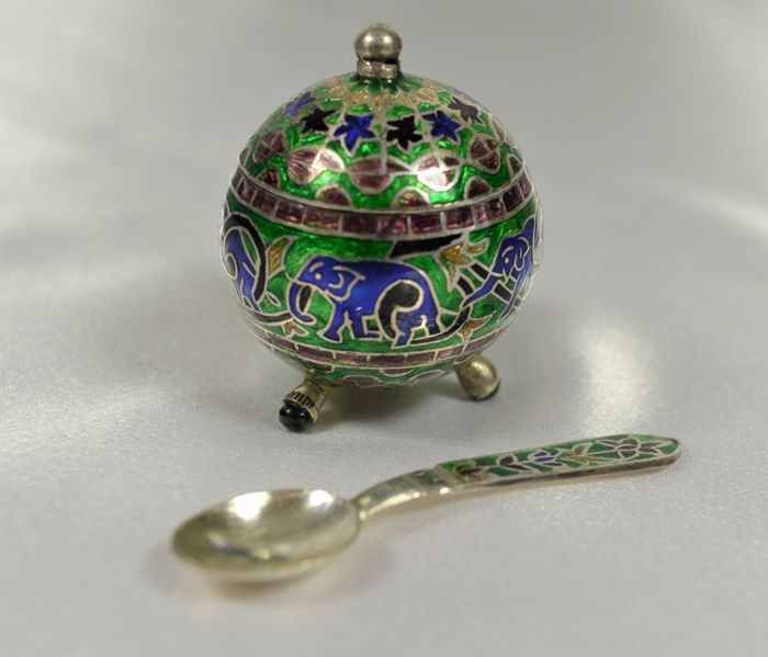 silver and enamel salt cellar, India, 20th century