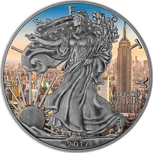 USA 2017 1$ American Eagle 1oz Antique Empire State Building Silver .9999 Coin