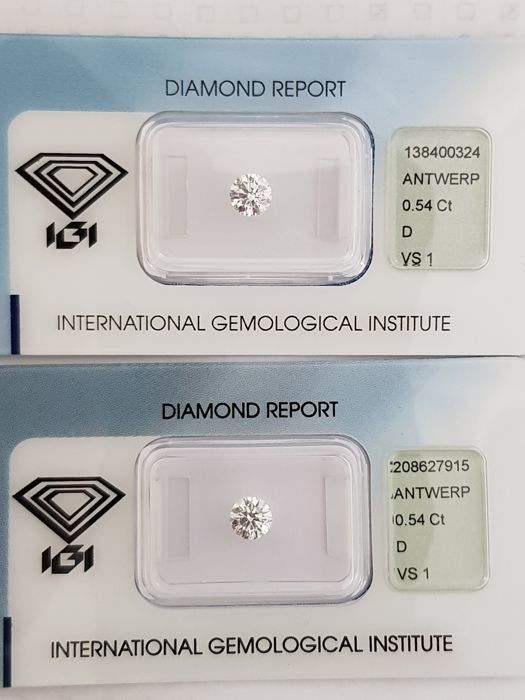 Couple of brilliants 1.08 ct D VS1