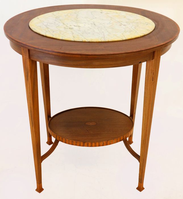 Louis Xvi Marble Coffee Table: Louis XVI Style Mahogany Coffee Table With Marble Top