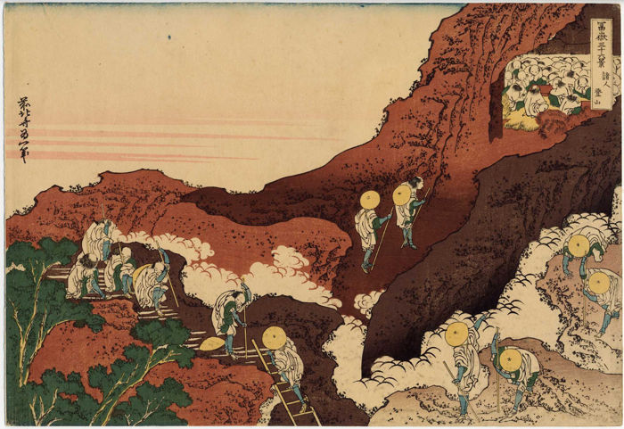 Print by Katsushika Hokusai (1760-1849) (reprint) - 'The ascension of Fuji' from the series '36 views of Mount Fuji' - Japan - approx. 1900