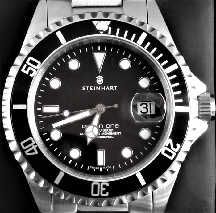 Steinhart - Ocean One - Black - Excellent Condition - Swiss ETA Automatic - Present: Original Bracelet - Heren - 2011-heden